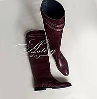 Женские бордовые сапоги из замши и питона на низком каблуке