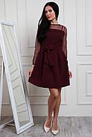 Модное платье из турецкой сетки и костюмного крепа юбка расклешенная