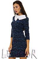 Платье в стиле Коко Шанель с рукавом ¾ и белым воротником Голубой, Размер 44 (M)