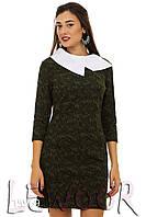 Платье в стиле Коко Шанель с рукавом ¾ и белым воротником Зеленый, Размер 46 (L)