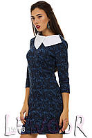 Платье в стиле Коко Шанель с рукавом ¾ и белым воротником Голубой, Размер 48 (XL)