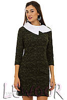 Платье в стиле Коко Шанель с рукавом ¾ и белым воротником Зеленый, Размер 42 (S)