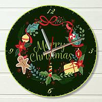 """Настенные часы  - """"Веселого Рождества, зеленые"""" (на пластике)"""