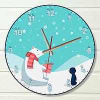 "Настенные часы  - ""Полярный медведь"" (на пластике)"