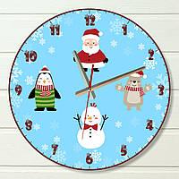 """Настенные часы  - """"Новогодние герои"""" (на пластике)"""