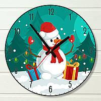 """Настенные часы  - """"Снеговик"""" (на пластике)"""