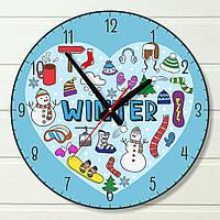 """Настенные часы  - """"Зима"""" (на пластике)"""