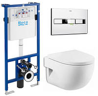Комплект: MERIDIAN-N Compacto унитаз подвесной, PRO инсталяция для унитаза, PRO кнопка, сиденье твердое slow-closin