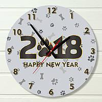 """Настенные часы  - """"2018, год Собаки"""" (на пластике)"""