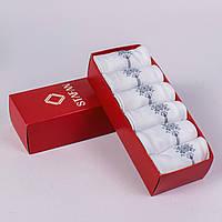Мужские белые носки на подарок. В коробочке 6 пар