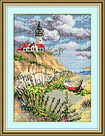 30550 Лодка у маяка. Dream Art. Набор алмазной живописи (квадратные, полная) (F1705)