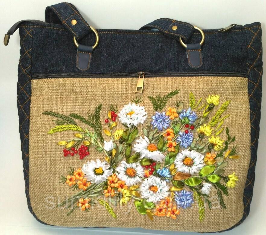 Женская сумка саквояж Ромашки