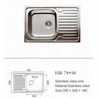 Мойка кухонная HAIBA 780х500х180 (Satin)
