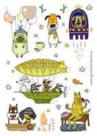 Позитивнейший набор наклеек с собаками Ирины Герчанивской, фото 1