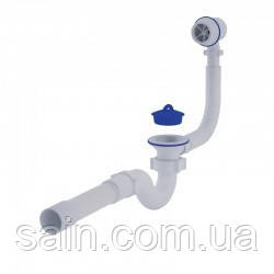 """АНИ Сифон (C6155) для ванны прямоточный, с выпуском и пласт. переливом 11/2"""" (выход 50 мм)"""