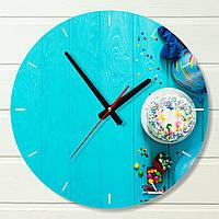 """Настенные часы на кухню - """"Тортик, бирюза"""" (на пластике)"""