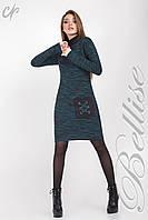 Платья вязанное с меланжевого трикотажа