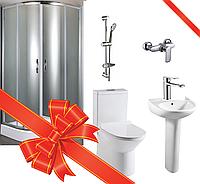 Ванная комната Fiesta (кабина,компакт,умывальник, штанга,душ+2 смесителя)