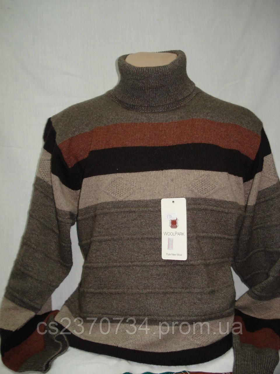 Свитер мужской Wool Park хомут т-бежевый в полоску (M  54 размер)