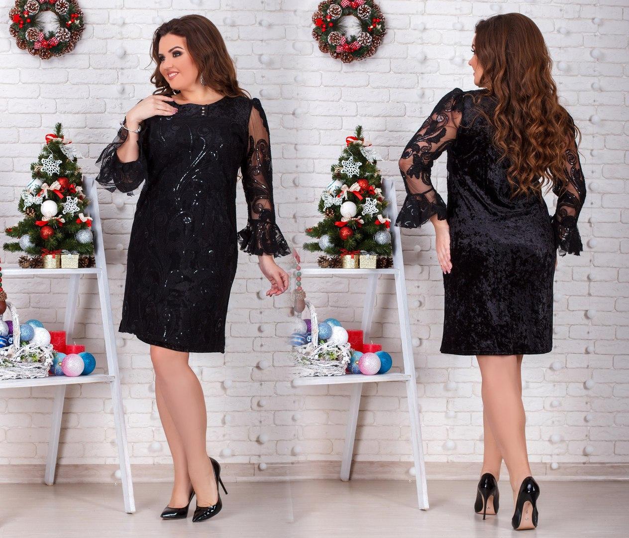 e8d0f25feff Нарядное бархатное платье с пайетками на сетке большого размера