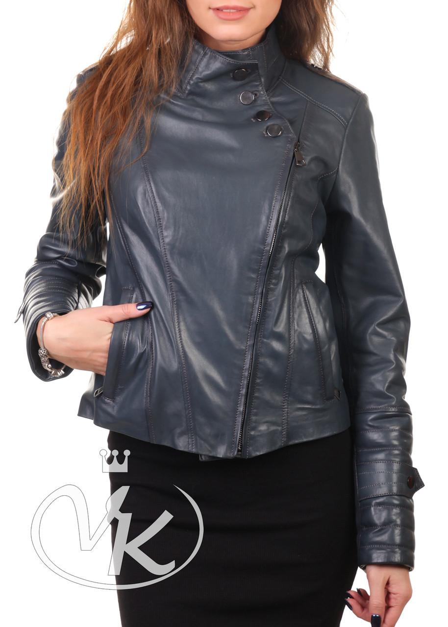Изумрудная кожаная куртка короткая женская (Арт. CHL2111)