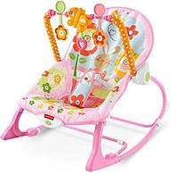 Детский Шезлонг детское Кресло-качалка Зайчик Летний сад 3 в 1 Fisher Price Фишер прайс Y4544