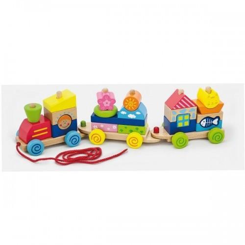 Паровозик деревянная игрушка-каталка Viga Toys (50089)