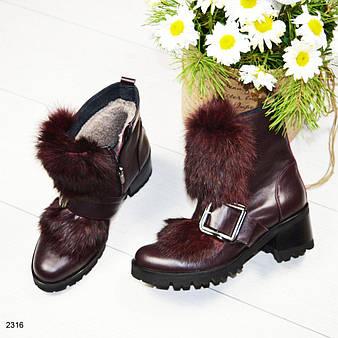 Зимние ботинки, декорированные натуральным мехом 36 37