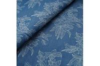 Джинсовая ткань Цветы( рубашечная )