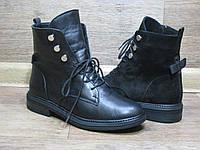 Ботинки женские Dior на толстой подошве на шнурках из черной кожи или замша.