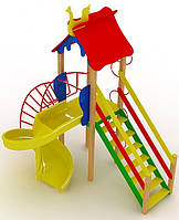 """Детский комплекс Kidigo """"Петушок"""" с пластиковой горкой """"Спираль"""" высотой 1,5  м"""