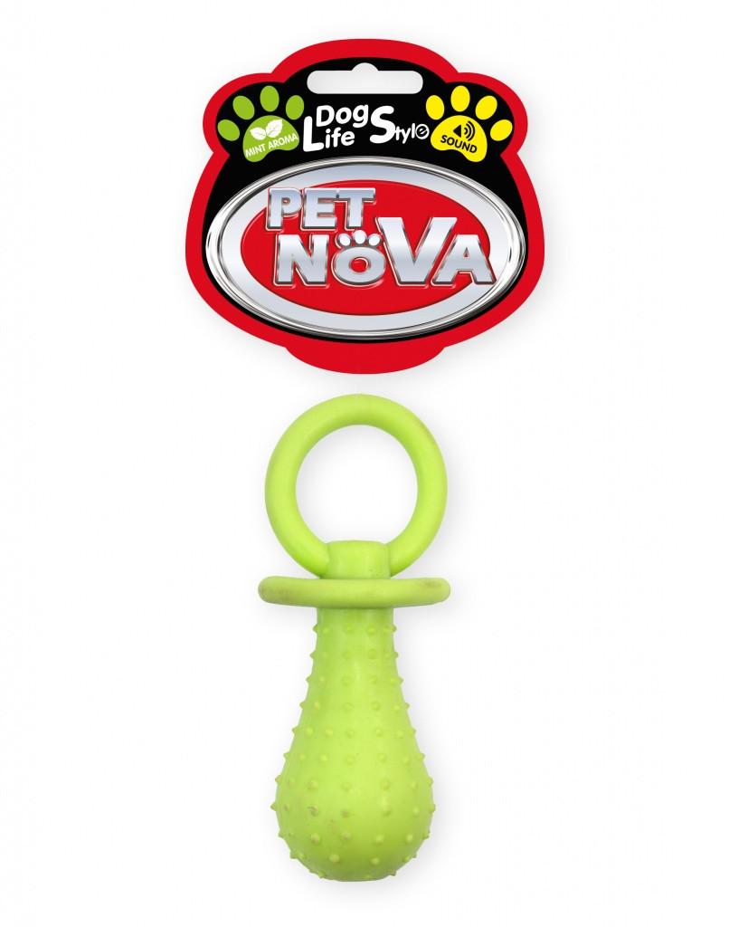 Игрушка для собак Соска с колокольчиком Pet Nova 14 см желтый