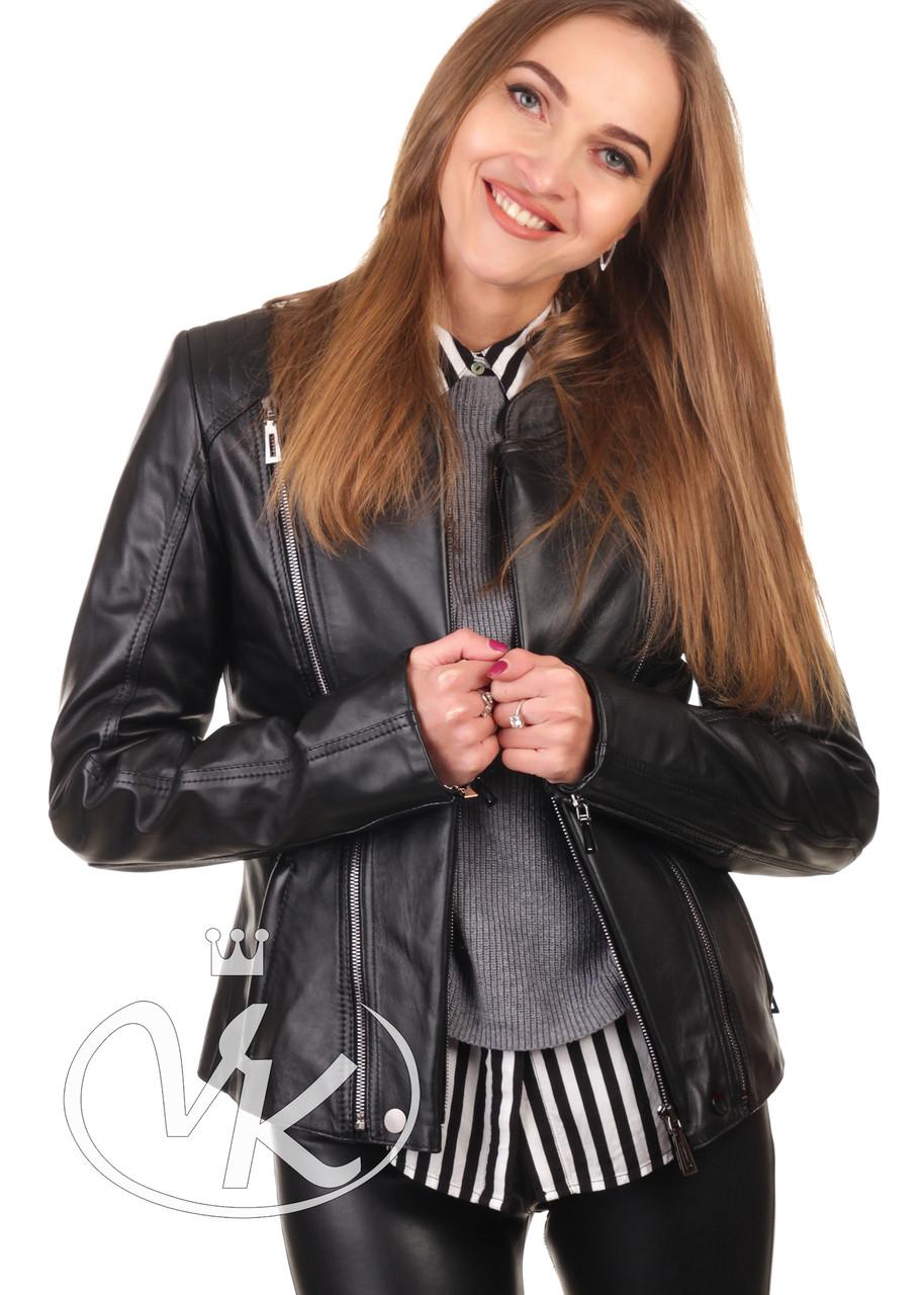 Куртка кожаная женская короткая черная 46 размера (Арт. FLO201)