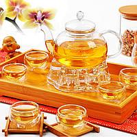 Китайский Gongfu Glass Чай Набор горшков с фильтром Infuser Чай Светлый нагреватель 6 чашек