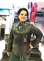 Женская Куртка - Косуха  Большой Размер Черная 002МК
