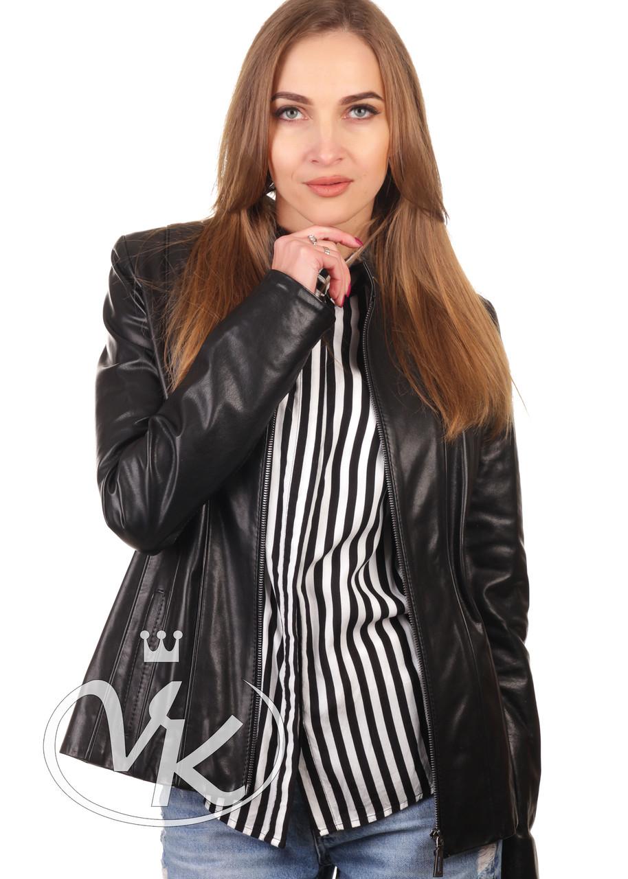 Короткая кожаная куртка женская черная 46 размера (Арт. NOV201-2)