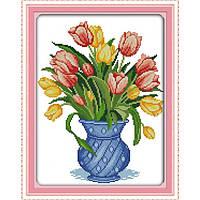 """Набор для вышивания крестиком Цветы """"Нежные тюльпаны"""",в пак. 37*47см , 11СТ"""