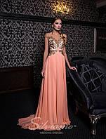 Роскошное вечернее платье на кокетке с юбкой-шлейф.
