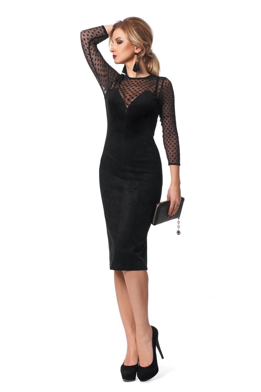 d712310a195 Элегантное вечернее платье из замши в черном цвете