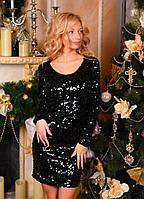 Женское красивое платье с паетками на подкладке цвет черный