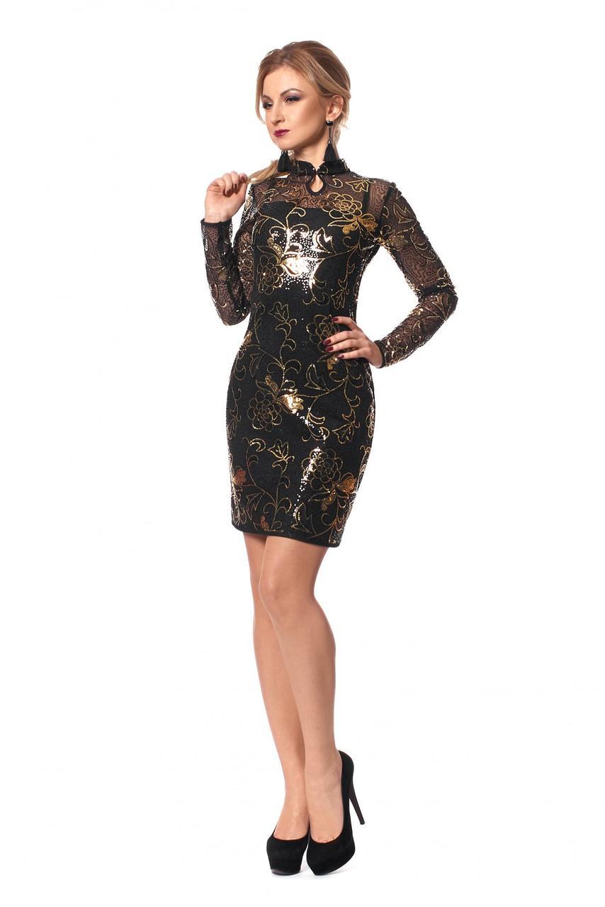 980635c7971539a Платье черное в блестящие пайетки воротник-стойка - Оптово-розничный  магазин одежды