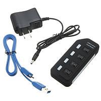 4 порта USB 3.0 SuperSpeed центр с на выключатель AC адаптер питания для Mac OS систем Linux