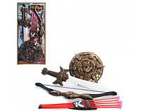 Набор рыцаря лук52см, щит25см, меч 55см, стрелы 5шт, колчан, 29,5-63,5-3,5см