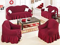 Комплект Чехлов на диван и 2 кресла оригинал GOLDEN БОРДОВЫЙ защитный чехол для дивана кресла