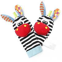 2шт ребенок прекрасный животных зебры носки погремушки игрушки искатели перчатки детские детский ногу