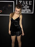 Велюровая женская пижама с шортиками