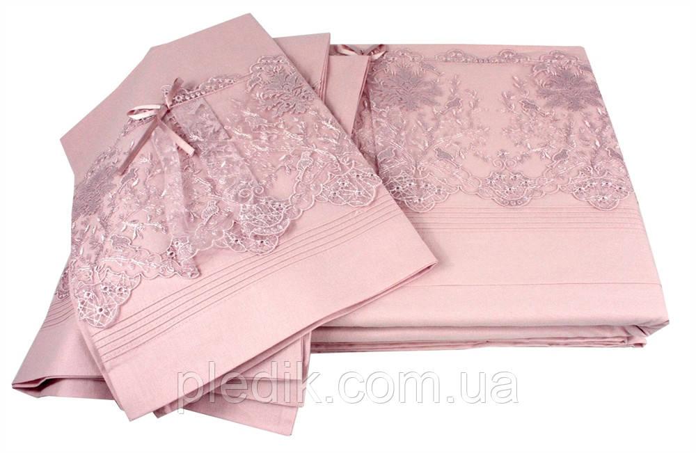 Постельное белье 200х220 La Perle Poplin Exclusive с кружевом т.розовый