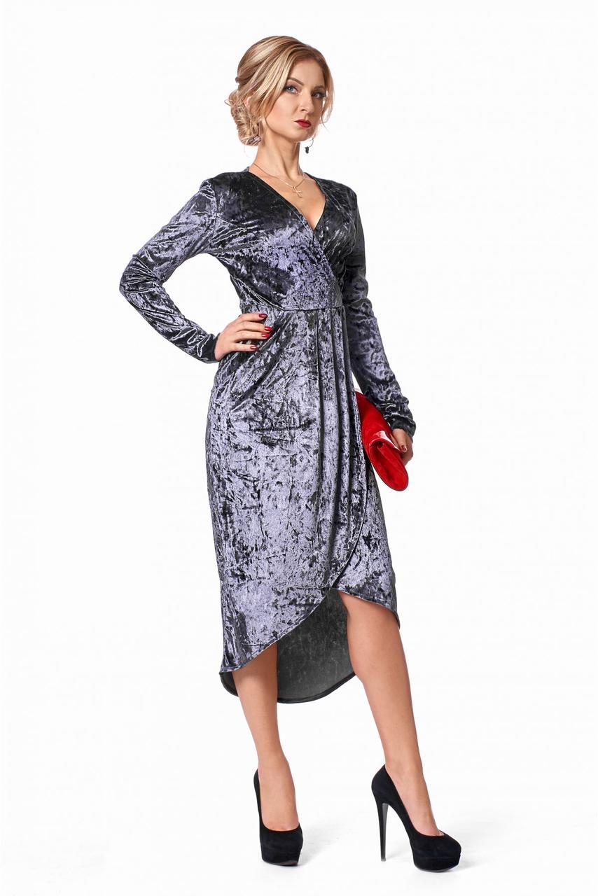 3ea00b4b1d9 Вечернее платье запахом и длинным рукавом