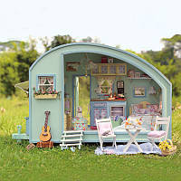 CuteRoom A-016 Time Travel DIY Деревянный кукольный домик Миниатюрный Набор Дом куклы LED Музыкальный контроль голоса