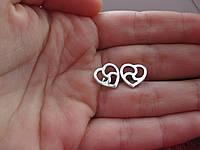 Пусеты-триксель сердце, Серьги-пуссеты на винте, БДСМ символика